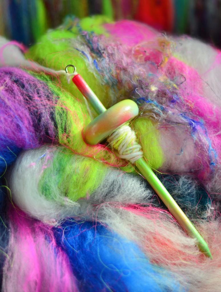 Drop Spindle and Art Batt