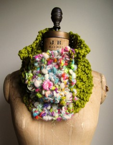222 Handspun yarn knitted into a beautiful cowl by Happiknits.
