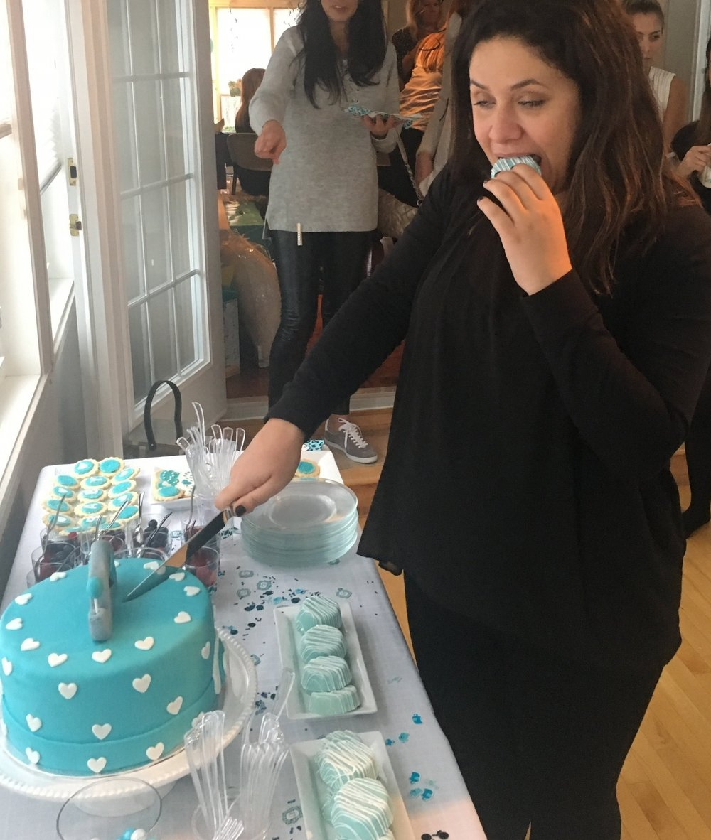 This is me at my baby shower and it accurately depicts my entire pregnancy - eat to survive. #IWasOverIt. But also, how good are chocolate covered oreos!?