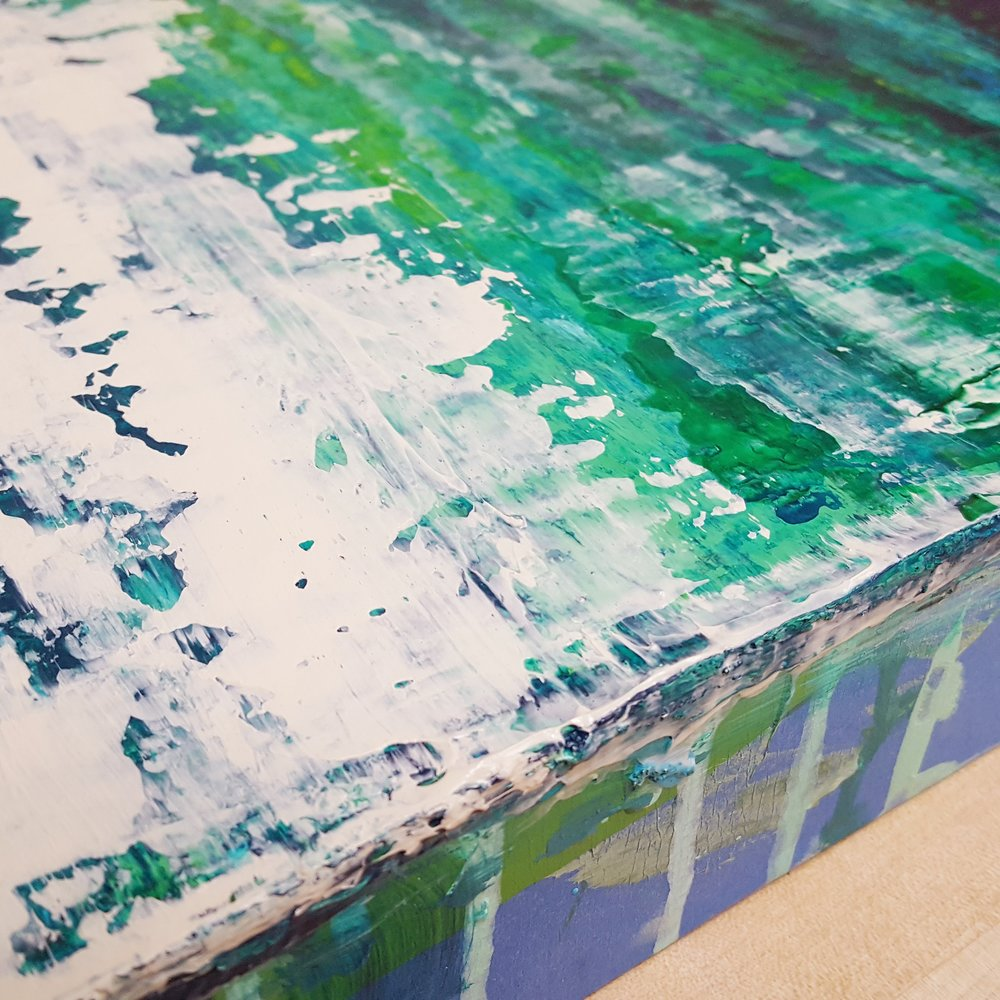 Welcome! - Here is a little background information;I work out of my home and studio space in south Florida creating contemporary abstract, minimalist paintings. Currently focuing on a new series on seascapes or coastal landscapes. I am married to a well known marine artist, Dennis Friel. Together, we run a full time fine art and custom design studio. Dennis Friel Art Studios and Liz Friel Fine Art are located in SE Florida.Here you can follow me in the studio or on Instagram to see my abstract work in progress. You'll see art before it is finished or even on this site! The website itself is still a work in progress too and will feature fine art prints and more.Thank you for visiting my blog and new website.~ Liz Friel ~*This is a close up detail from my Emerald Escape painting.