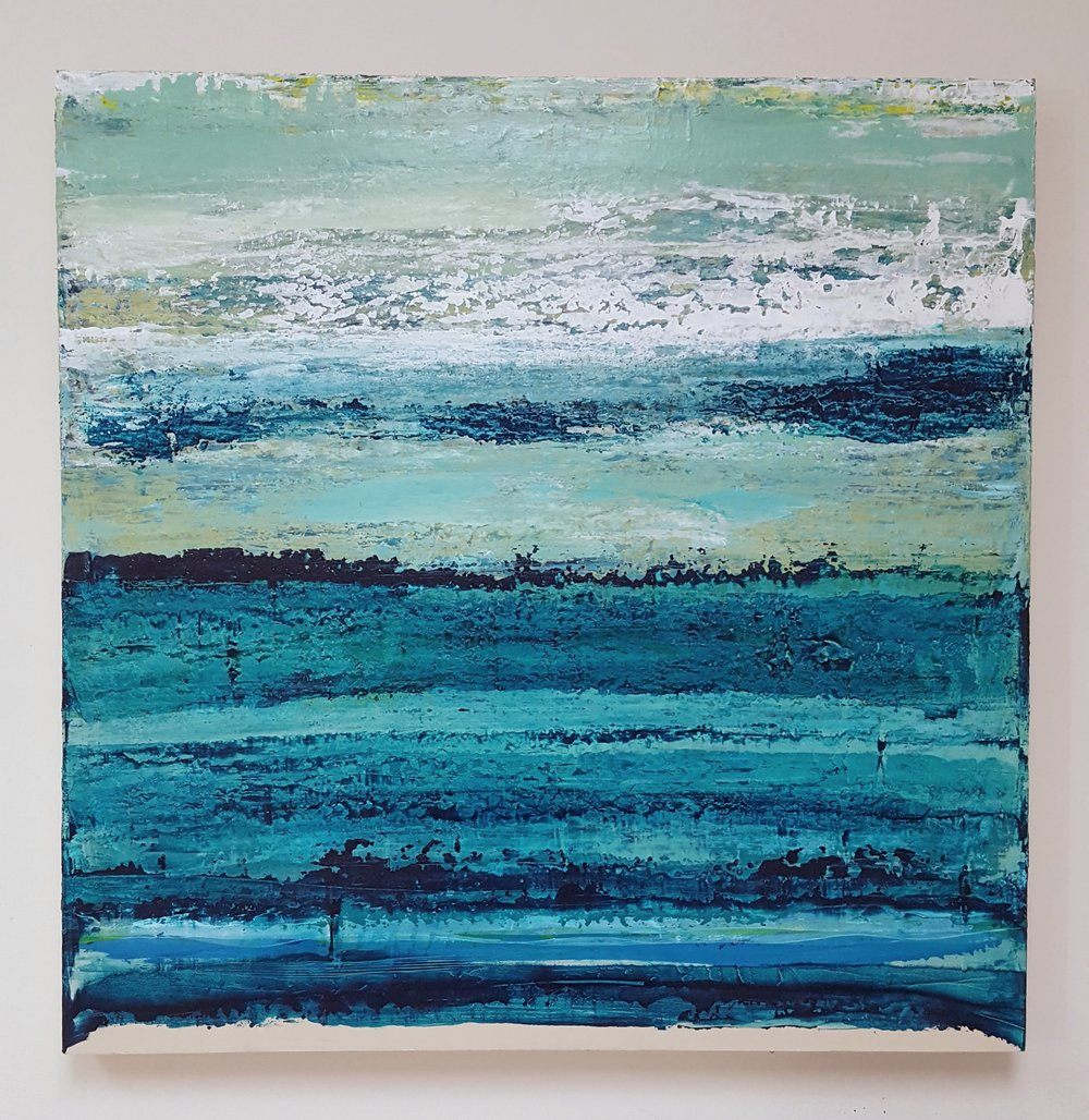 Original Artwork - 'Swimming in the Turquoise' Acrylic and Mixed Mediums on board. 30x30 inches by 2inch.