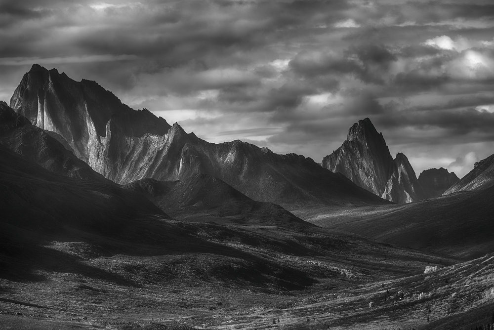 B&W Yukon tombstone mountains by Chris Pepper