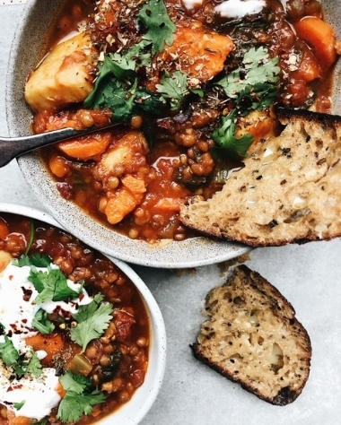 vegan lentil + sweet potato stew.