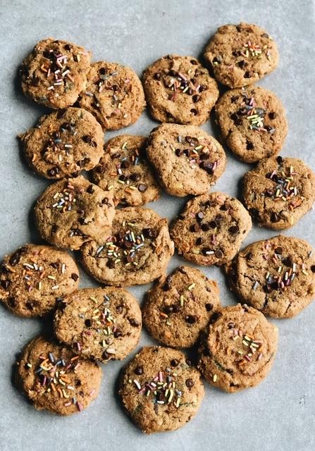 grain free chocolate chip sprinkle cookies (paleo).