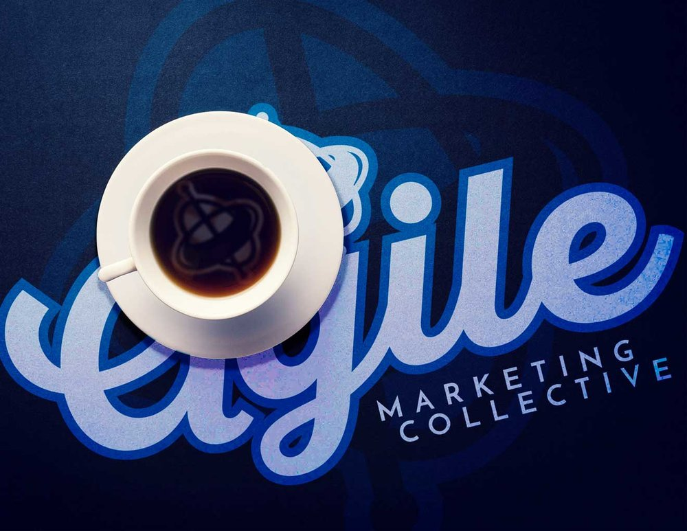 Cup of coffee on a blue table.