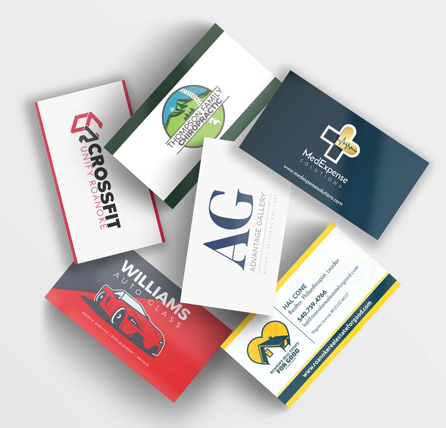 A stack of different business cards showing different logos.