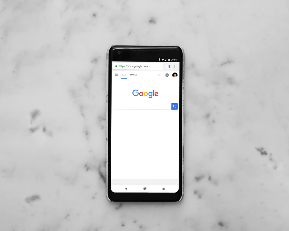 Smart phone with Google search open.