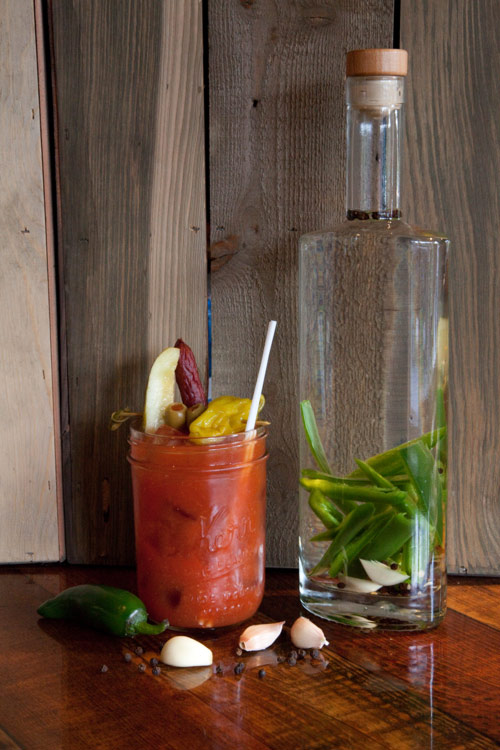 Rocky Mountain Ceasar - Bloody MaryIn a mason jar:Add 1 oz. Mule Kick (sub Glacier Dew if you don't like extra spice)Fill with iceTop with Caesar or Bloody Mix of your choiceGarnish with an olive, pickle, pepperoncini and meat stick