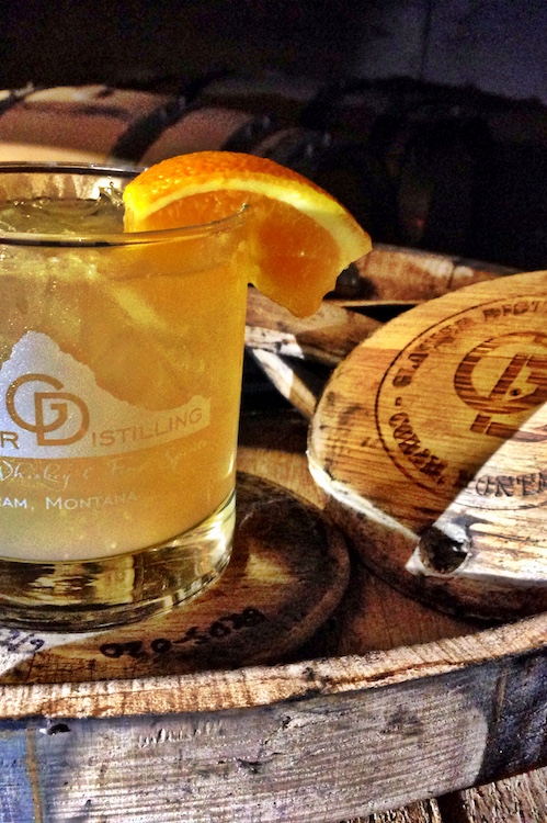 """Josephine's Pie  - In a rocks glass:Add 1 oz. Glacier Dew infused with mulling spicesAdd squeeze of one orange wedgeAdd iceTop with apple juiceHow to infuse Glacier Dew with mulling spices:Open bottle of Glacier Dew,add 4 tablespoons of mulling spice into bottle, let sit 3-4 days, """"Disturb"""" the settling of the spices periodically while infusing, strain mulling spices from liquor, funnel infused Glacier Dew back into bottle. Enjoy as desired!"""
