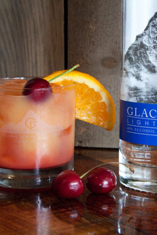 Glacier Sunrise  - In a rocks glass:Add 1 oz. Glacier DewAdd iceFill with orange juice (leave a little bit of space)Add a splash of grenadine or cherry juiceGarnish with fresh cherry or orange wheel