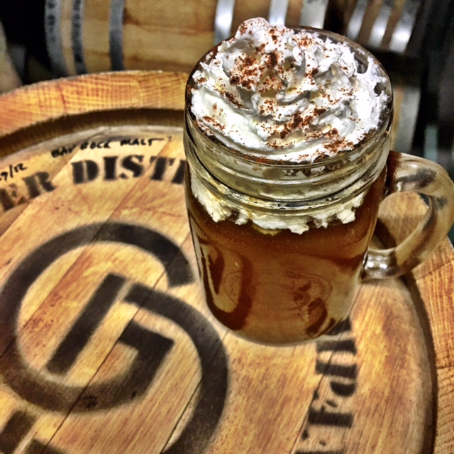 Hot Spiked Cider - In a mug:2 oz. Gold MinerTop with house made ciderGarnish with whipped cream and a sprinkle of cinnamon or nutmeg (optional)To make cider:Heat one gallon jug of apple juice with 10 cinnamon sticks, sprinkle of nutmeg, teaspoon of clove, teaspoon of allspice, ½ cup packed brown sugar and the slices of one orange. Bring to a boil. Strain ingredients. Keep heated for serving.