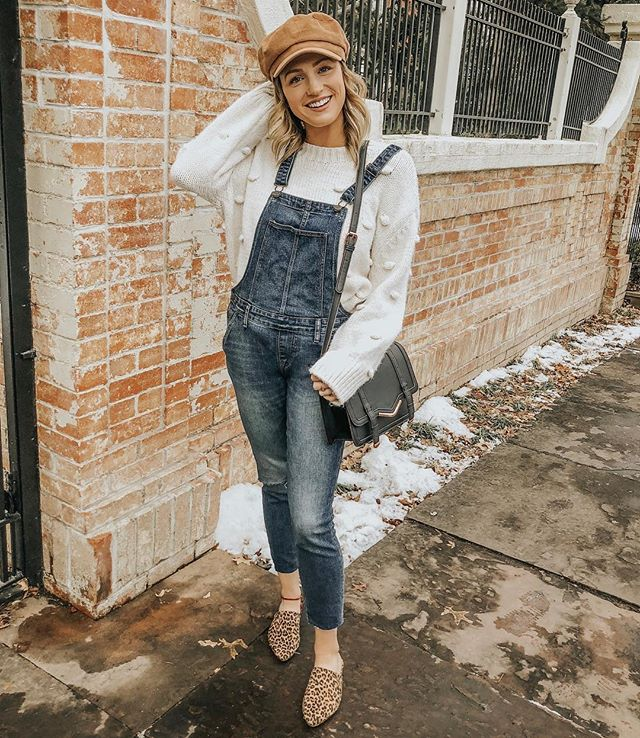 anyone else the worst at writing captions? 🤷🏼♀️ here's a pic of me in a pom sweater and overalls + a hat 😅 ..shop this look here 👉🏼 http://liketk.it/2zFgr #liketkit @liketoknow.it
