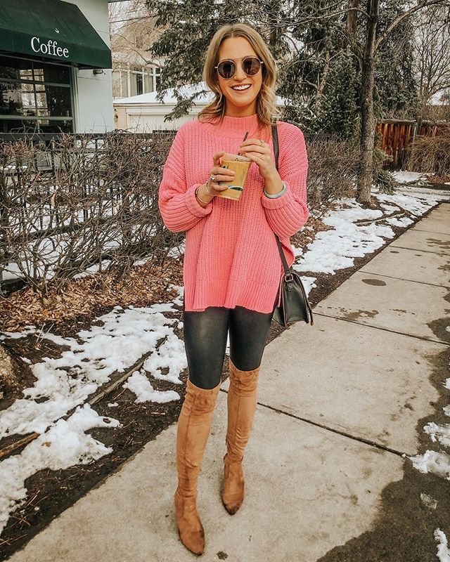 running on iced coffee + tickled pink that tomorrow is friday 😉💕you can score this sweater for $30 if you download the @americaneagle app! it comes in several colors + is perfect for leggings! ✨ http://liketk.it/2A3sI #liketkit @liketoknow.it