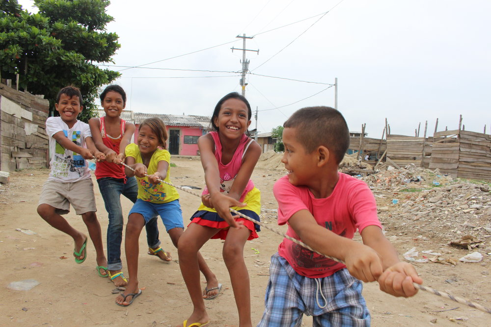 Kids playing in Barranquilla.