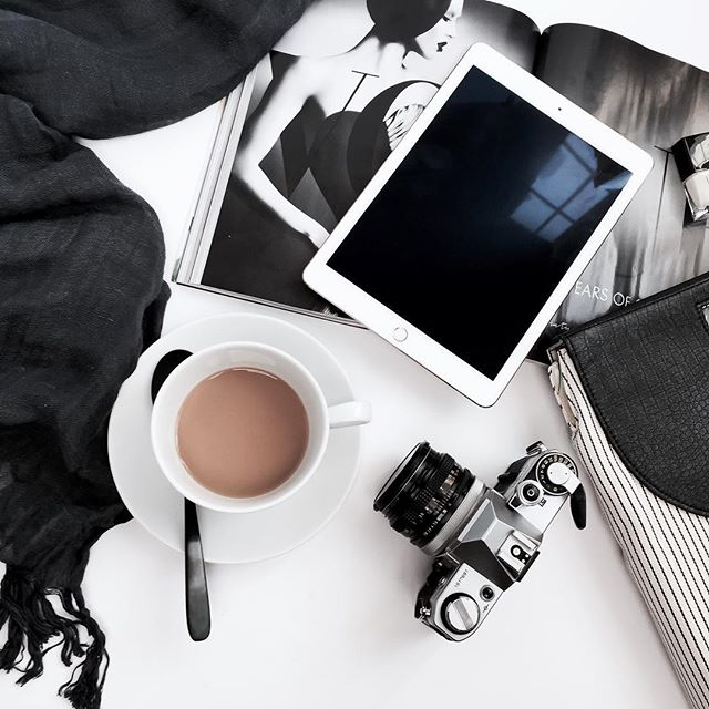 #workgoals for Monday include a shoot, blogging, and designing. Oh, and drink coffee. Tons.