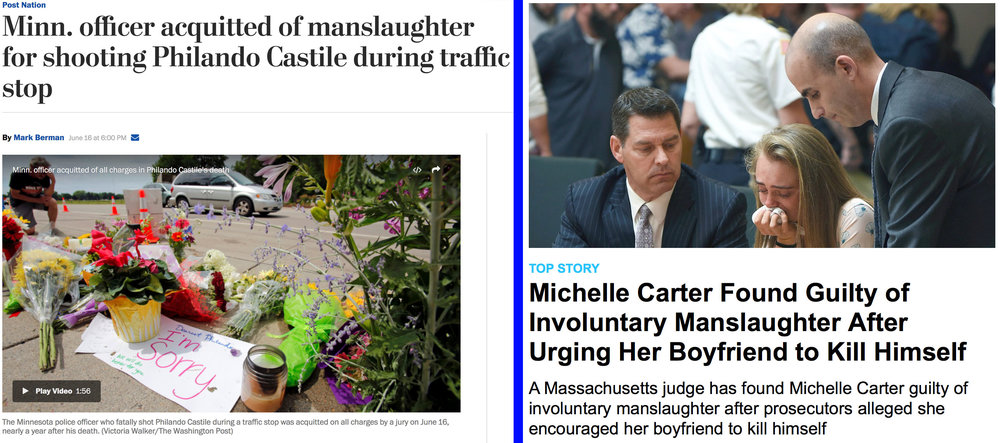 These two headlines came out the same day. An officer who shot a man to death who had done nothing wrong and was obeying commands was acquitted, while a civilian woman who told her suicidal boyfriend to go ahead and kill himself was convicted. Justice is supposed to be blind. It isn't.