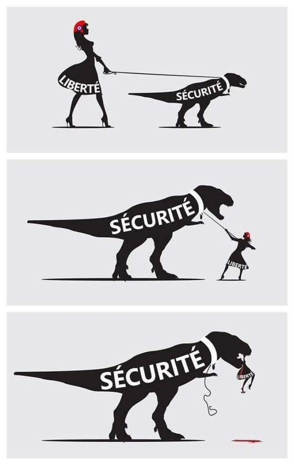 "This accurately illustrates the problem when any society begins to allow the government leeway with domestic security. With the USA PATRIOT Act of 2001, American liberty was quickly swallowed by this overriding push for ""security."" We need to re-prioritize because this cannot be ""the land of the free"" or ""the home of the brave"" if we're too scared to allow our fellow Americans their freedom."