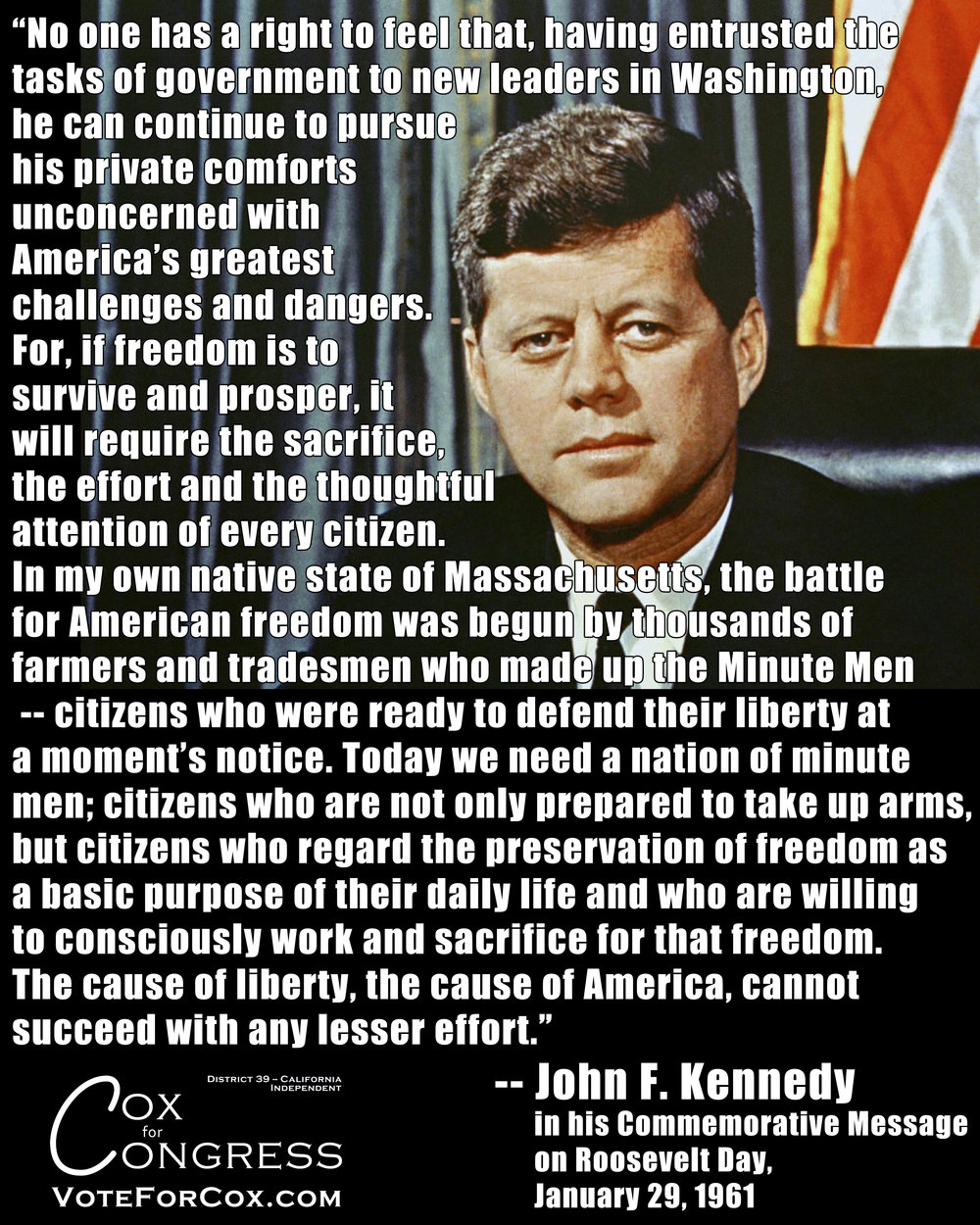 John F. Kennedy discussing the responsibilities of citizenship, and the right to bear arms as among said responsibilities.