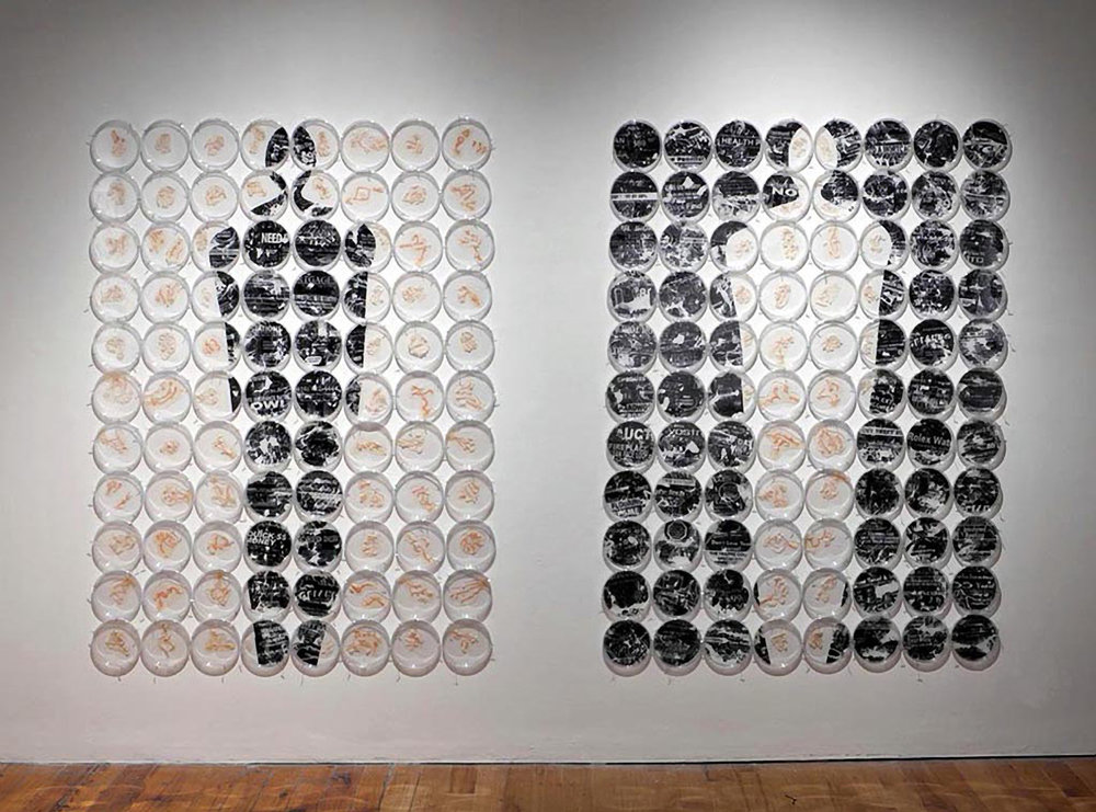 "Cc: me    Petri dishes, fax machine carbon, mylar, agar,  Halobacterium sp. NRC-1   75"" x 103'  2012"