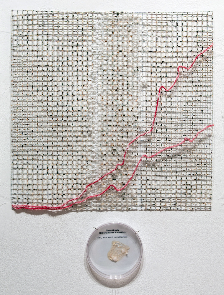 "Ebola Graph - Liberia grown salt crystals, wool, wire, agar, halobacteria, agar, petri dish 20"" x 20""  2015"