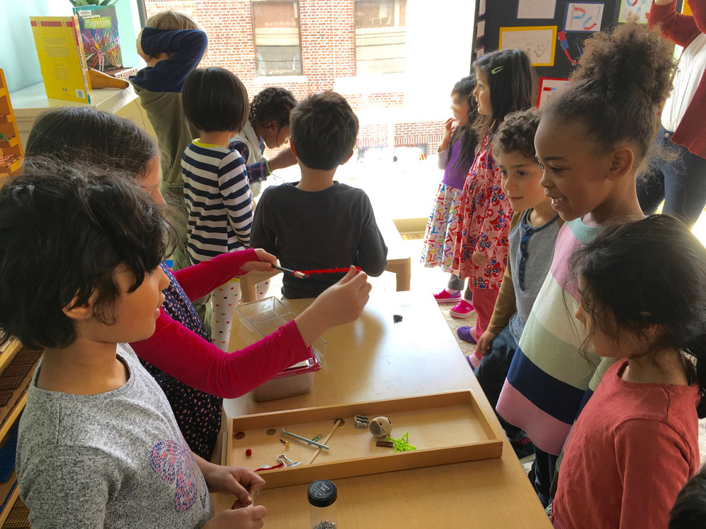 The Science Fair, above, gives students the chance to practice public speaking skills to parents and peers as they display and discuss their experiments.