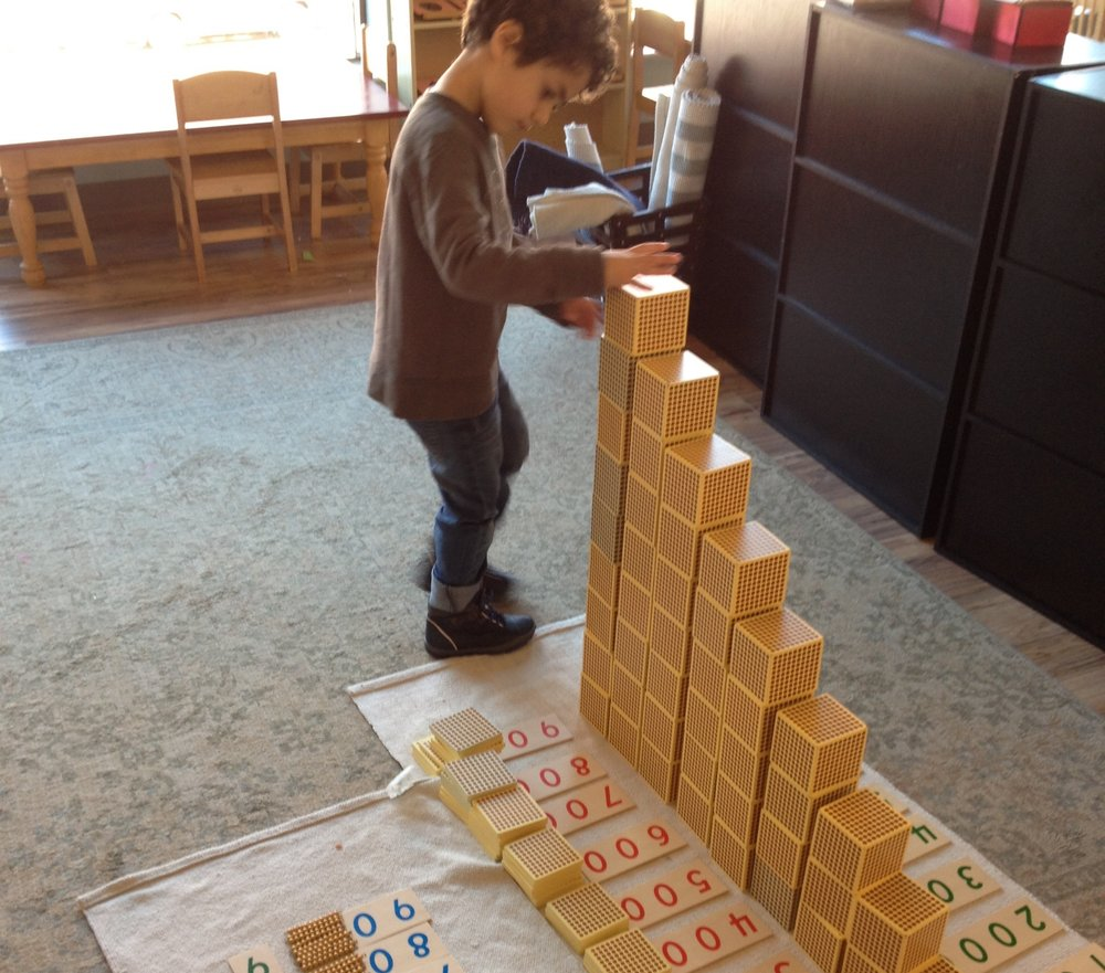Montessori materials are a staple in our math curriculum, and the 45 Layout is a favorite activity.