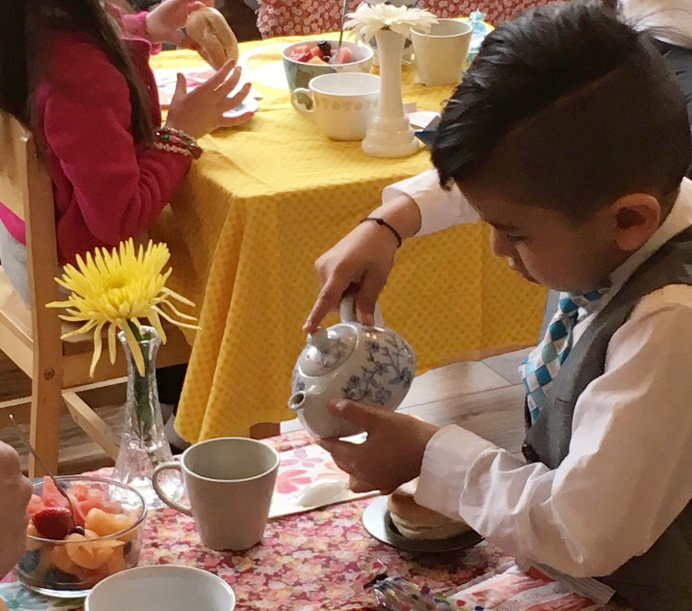 Grace, courtesy and hospitality are endemic to our classroom experience, especially in evidence during     Mothers' Day Tea     and     Fathers' Day Tea    .