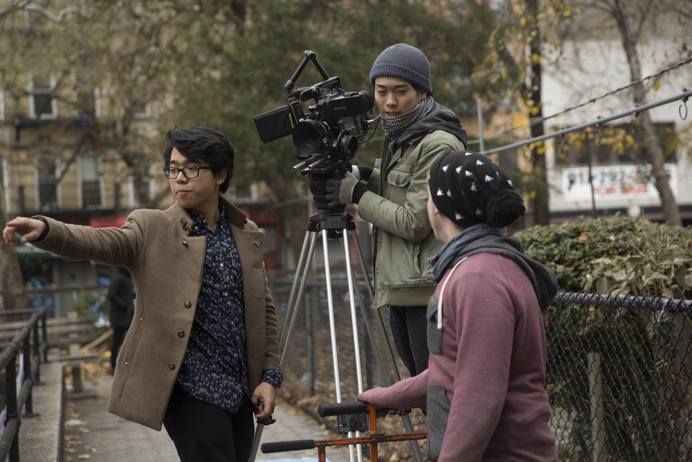 Moving Picture Institute-supported filmmaker Calvin Tran gives direction on the set of his short film,  Bizone .
