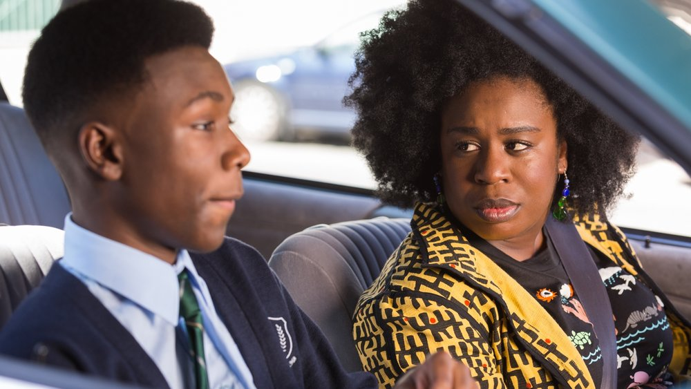 Virginia (Uzo Aduba) drives her son, James (Niles Fitch), to his new school.