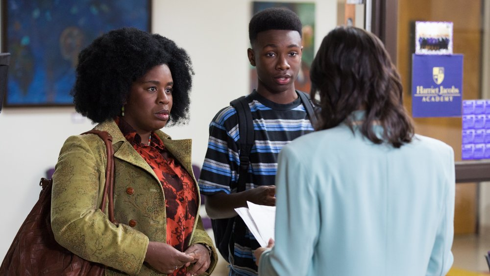 Virginia (Uzo Aduba) and her son, James (Niles Fitch), meet with the school principal.