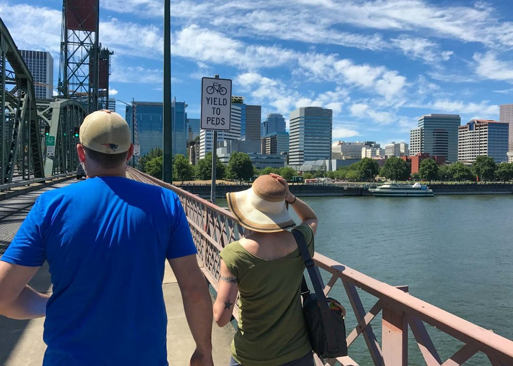 crossing the Willamette in portland