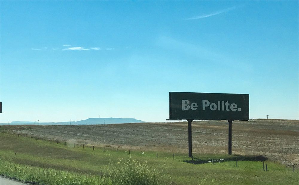 first road sign in ND
