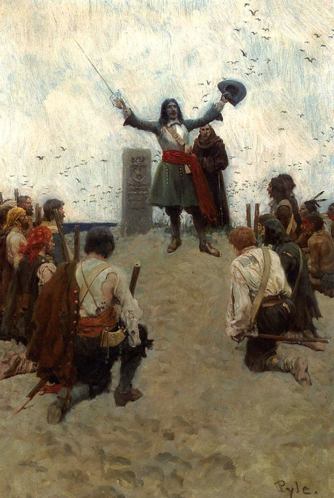 La Salle christening the country Louisiana --  Howard Pyle