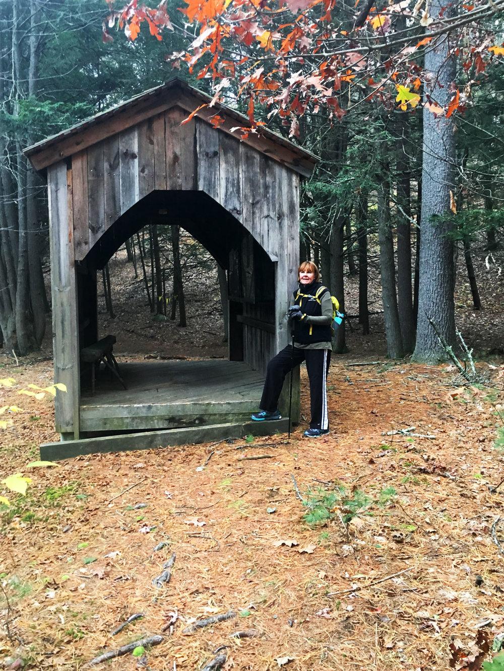 Timberframe hut along the trail