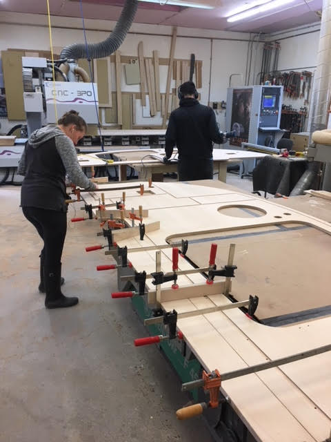 Side panels being made at Great River Woodworking -possibly ours!