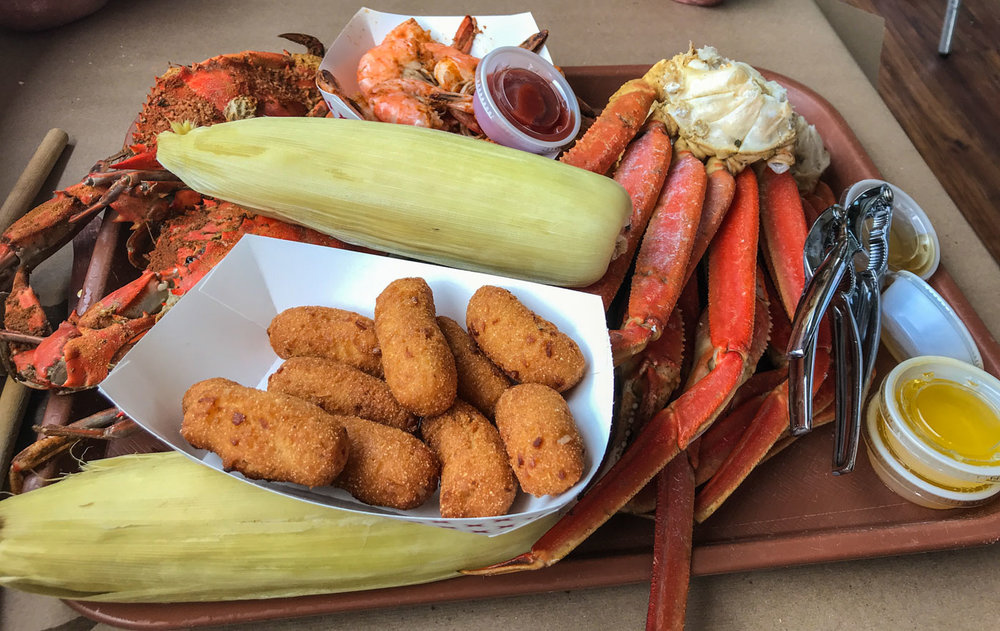 Crab Fest! with hush puppies and corn. . .