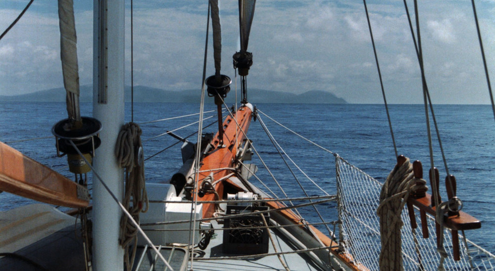 Approaching Flores, Azores aboard Sheba Moon, June, 1998
