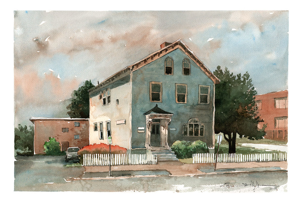 Grove Street - watercolor painting 16X12 inches