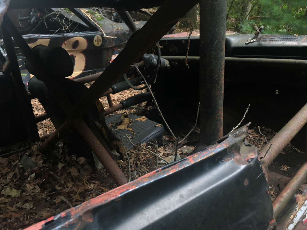 abandoned race car