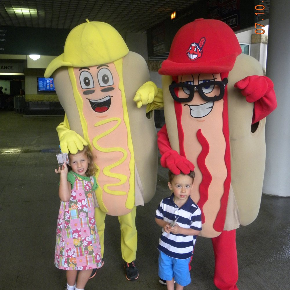 The famous hot dog race amongst ketchup, mustard, and onion at Progressive Field in Cleveland.