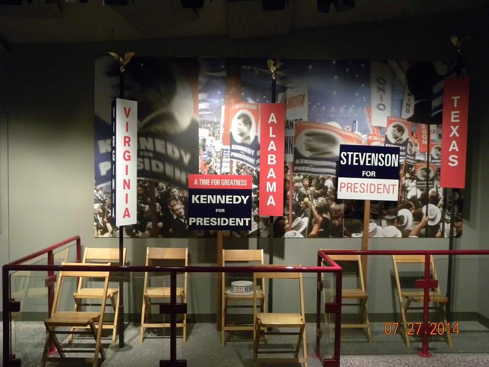Campaign memorabilia on display at the JFK Library in Boston, Massachusetts