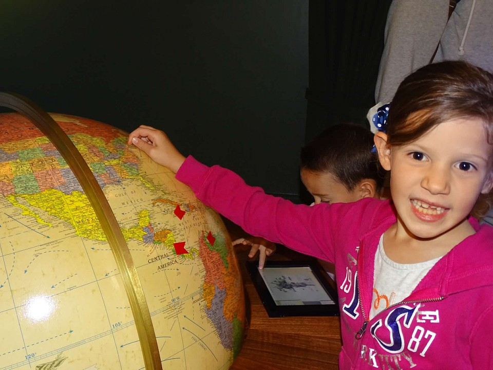 My daughter enjoyed finding various important places on the globe in President Roosevelt's office..