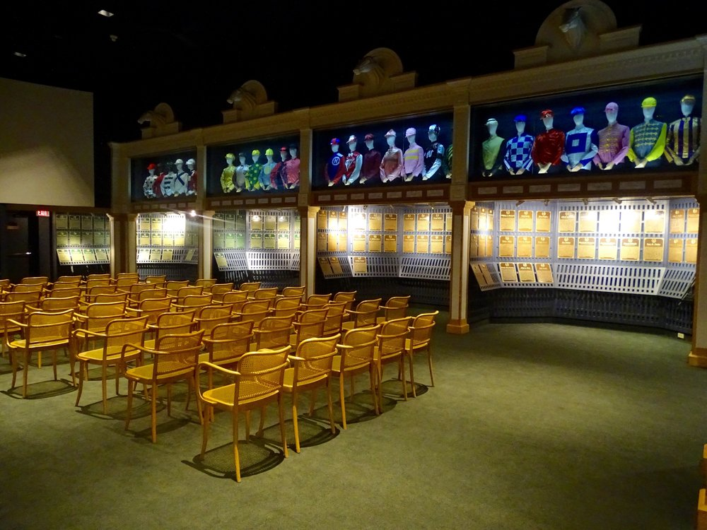 One side of the Hall of Fame gallery.  My children rested and watched short films about horse racing.