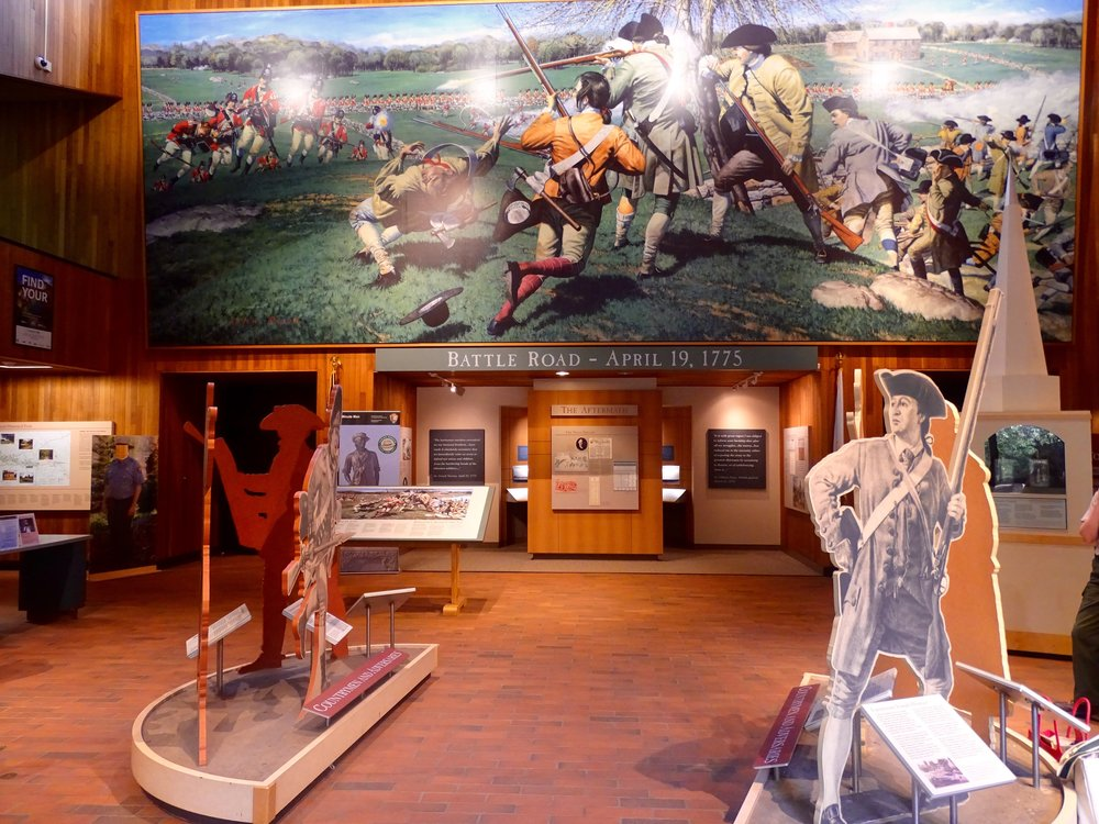 A huge mural depicting the battle of April 19, 1775 displayed in the Minute Man Visitor's Center.