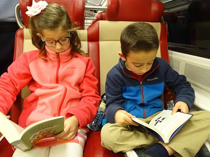 Reading a recent acquisition from Barnes & Noble on the Metro North train ride home.