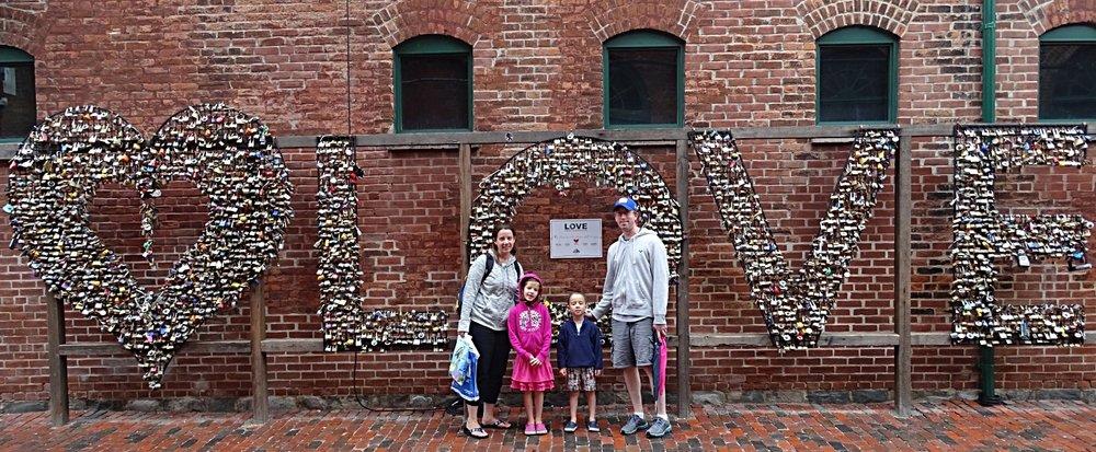 "The ""love"" art installation in Toronto, made entirely of padlocks."