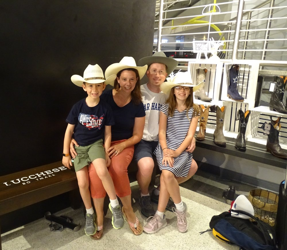 When in Dallas, we had to sport cowboy hats!