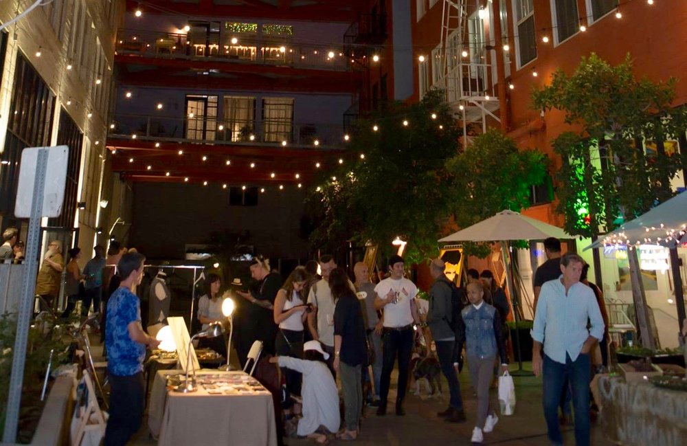 Santee Court - This beautiful courtyard offers a peaceful place to experience art walk.  Recharge with food and drink, entertainment, and most importantly ENJOY THE ART