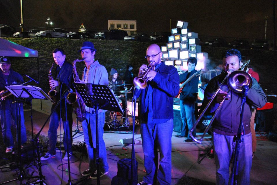Live Performances - Root System's brass band at I ART U DTLA. Each month I ART U DLTA features live performances in music, dance, spoken word, even a little stand-up comedy!