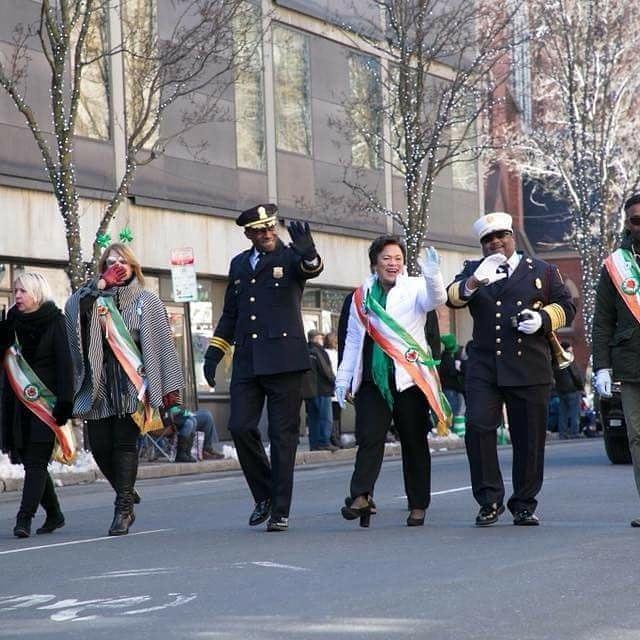 Mayor Toni Harp with other New Haven City officials celebrating Saint Patrick's Day Parade.#mayortoniharp